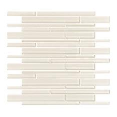 "12""x12"" Cream Glass Strip Mosaic, Single Sheet"