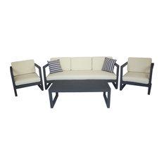 MANUFACTURAS RUIZ SL - Outdoor 4-Piece Alhama Furniture Set With 3-Seater Sofa, Anthracite - Garden Lounge Sets