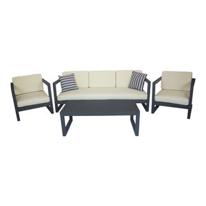 Outdoor 4-Piece Alhama Furniture Set With 3-Seater Sofa, Anthracite