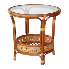 Pelangi Round Rattan Wicker Coffee Table With Glass, Colonial