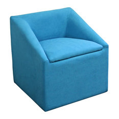 """20.75""""H Sky Blue Accent Chair With  Storage"""