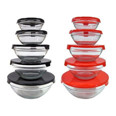 20 Pcs Healthy Glass Food Storage Containers Set With Red & Black Lids