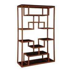 "Wood & Iron 63"" Asymmetrical Bookcase Open Display Wall Unit"
