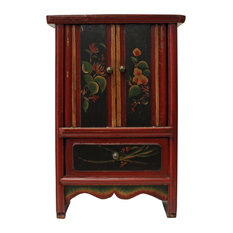 golden lotus chinese mini small chest cabinet with red golden carving china cabinets