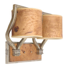 Aged Silver Finish 2 Light Vanity, Recycled Burl Wood Shades