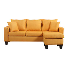 Divano Roma Furniture Modern Linen Fabric Small E Sectional Sofa With Reversible Chaise Yellow