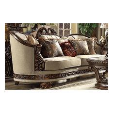 Traditional Style Luxury Beige & Dark Red Mahogany & Met Ant Gold Finish Sofa
