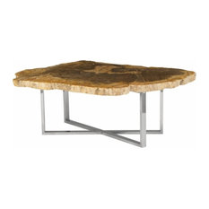 51-inch Coffee Table Free Form Petrified Wood Top Light Brown Yellow Stainless Base