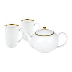 Tealicious 3-Piece Teapot and Mugs Set, Gold Rim