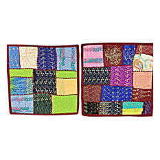 "Mogul Interior - Pillow Shams, 2 Vintage Patchwork Sari Cushion Covers 16"" - Pillowcases And Shams"