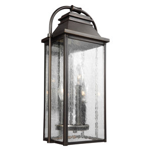 Wellsworth 3-Light Outdoor Wall Lantern Antique Bronze Clear Seeded Glass