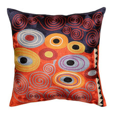 Klimt Fire Orange Red Navy Swirls Pillow Cover Hand Embroidered Art Silk 18x18""