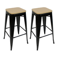 Stackable Stools With Bamboo Tops Set Of 2 Black