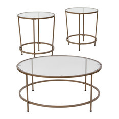 Astoria Collection 3-Piece Coffee and End Table Set, Clear/Matte Gold