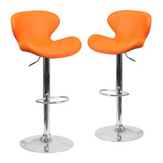 Contemporary Orange Vinyl Adjustable Height Barstools With Chrome Base Set Of 2