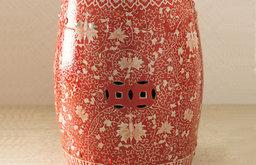 Red & White Garden Stool