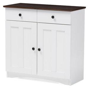 Lauren, 2-Tone White, Dark Brown Buffet Kitchen Cabinet, 2-Door, 2-Drawer