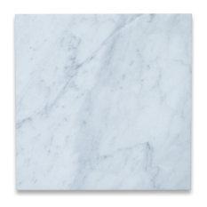 "12""x12"" Carrara White Marble Tile Polished Italian Bianco Carrera, Set of 100"
