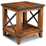 Crafters and Weavers - Larson Cross Bar Open End Table - Larson Collection: With clean lines and each piece having at least one metal detail such as metal rivet bands, mesh doors, or caster wheels the Larson Collection by Crafters and Weavers will bring a touch of industrial into your contemporary home.