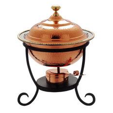 "Old Dutch 12""x15"" Round Decor Copper Chafing Dish, 3-Quart"