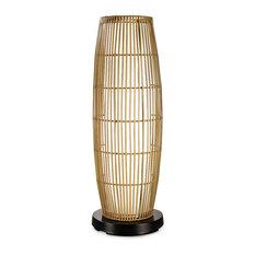 PatioGlo Bright White LED Outdoor Floor Lamp with Natural Resin Bamboo Cover