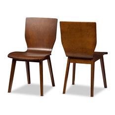 Baxton Studio - Elsa Mid-Century Modern Scandinavian Style Dining Chairs Dark Walnut  sc 1 st  Houzz & 50 Most Popular Scandinavian Dining Room Chairs for 2018 | Houzz