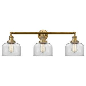 Large Bell 3-Light Bath Fixture, Brushed Brass, Glass: Clear