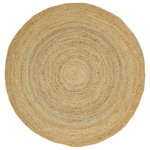 """Natural Area Rugs - Elsinore Hand-Braided Natural jute Round Contemporary Area Rug, 6' X 6' - """"Elsinore"""" Round Jute Rug by Natural Area Rugs, made of 100% natural Jute, is a wonderful option when you want only safe, organic materials in your home. Jute is a sustainable material and the softest and smoothest of all-natural fibers. It is elegant and feels soft on bare feet. The Biodegradable, all-natural, chemical-free Jute area rug has a perfect combination of style and durability. The modern, boho, classic rug is a staple of sustainable luxurious home decor. Entirely handcrafted, down to the stitched edges, each natural rug is unique, and has variations in thickness and texture adding to their one-of-a-kind character. Our natural area rugs are heavier than other Jute rugs in the market. Due to Jute Rugs being all-natural, they have an earthy odor for the first day or two after you open them from packaging. The odor goes away very quickly. We recommend airing out the rug in an open area for a minimum of 3 days in order for the smell to dissipate. The 10 x 10 round jute rug easily stands out and catches people's eyes. We recommend using a rug pad with your jute area rug to help ensure that it does not move underfoot or slide out of place. Rug pads are also important for protecting both your floor and your rug. When cared for properly, you'll be proud to display this attractive and durable jute rug in your home for many years."""