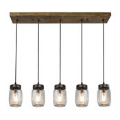 5-Light Glass Mason Jar Island Pendant Lighting