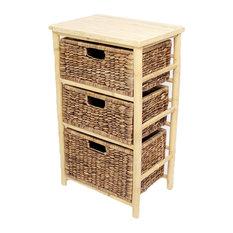 Kala Open Sided Bamboo Storage Chest With 3 Hyacinth Storage Baskets