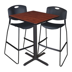 """Cain 30"""" Square Café Table, Cherry and 2 Zeng Stack Stools, Black"""