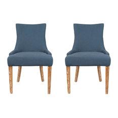 Safavieh Amanda Dining Chairs, Set of 2, Steel Blue Linen