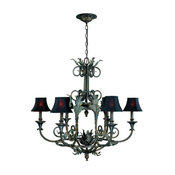 World Imports WI7246 Wrought Iron 6 Light Up Lighting Chandelier Iron W