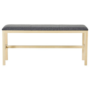 G.A.D Hallshuk Wooden Bench, With Grey Fabric Cushion