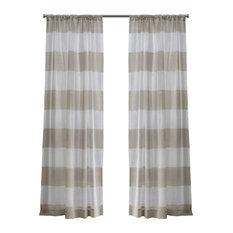 "Darma Rod Pocket Window Curtain Panels - 50"" X 84"", Linen, Set of 2 / Pair"