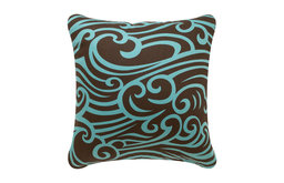 Wave Eco Pillow, Chocolate/Aqua, 18x18, Without Insert