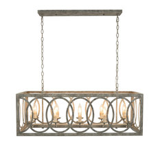 Thiago Rectangular Gray 10-Light Chandelier