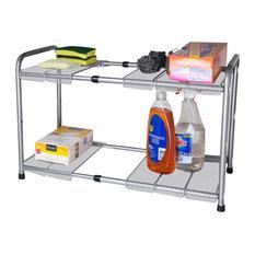 Home Basics 2 Tier Expandable/Adjustable Under Sink Kitchen Shelves Organizer
