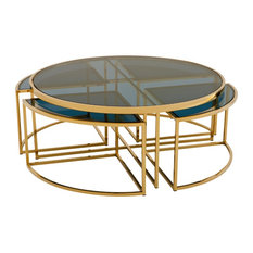 Bergen Hollywood Gold Blue Glass Nesting Round Coffee Table   Coffee Tables