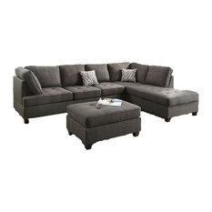 HD   Abovyan Sectional Sofa Upholstered, Ash Black Dorris Fabric   Sectional  Sofas