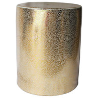 Shiny Decorative Ceramic Garden Stool, Gold