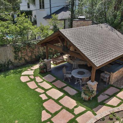 Home design - large rustic home design idea in Houston