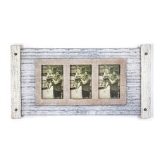 Rustic Wood and Metal Hanging 3 Picture Photo Frame