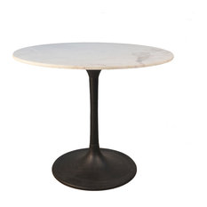 """Enzo 36"""" Round Marble Top Dining Table, Black Base"""