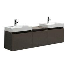 "Aquamoon Venice 68"" Infinity Double Sink Modern Bathroom Vanity Set, Brown"