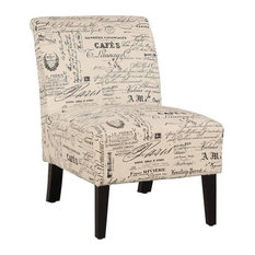Linon Lily Script Wood Upholstered Chair in Beige