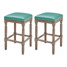 Ernie Bonded Leather Counter Stool, Turquoise