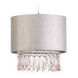 Beige Taffeta Ceiling Light Shade With Decorative Droplets
