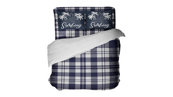Blue Plaid Preppy Surfer Kids Bedding with Surf Pillowcases