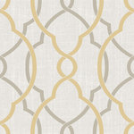 NuWallpaper - Sausalito Taupe/Yellow Peel and Stick Wallpaper Bolt - This elegant wall decor lets you fashion a modern and sophisticated entryway. This fine peel & stick wallpaper is easy to install and just as easy to remove. Printed on a premium substrate that will not damage walls, style a beautiful home with this chic taupe and yellow design. Comes on a 20.5in x 18ft roll.This product should NOT be applied to textured walls. Smooth clean, dry, painted surface only (no Non-Stick paint, or soap residue)